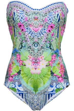 CAMILLA Strapless embellished printed swimsuit