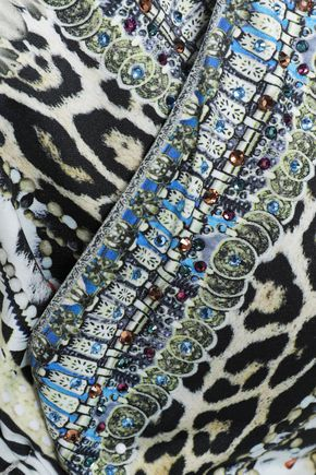 CAMILLA Leave Me Wild crystal-embellished printed halterneck bikini top