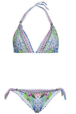 CAMILLA Embellished printed halterneck bikini