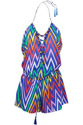EMMA PAKE Lace-up printed woven playsuit