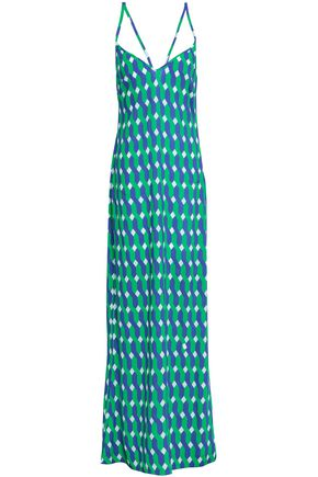 EMMA PAKE Lace-up printed voile maxi dress