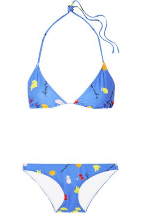 GANNI Dexies printed triangle bikini