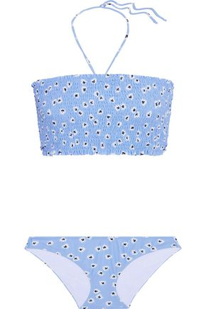 GANNI Mayflies shirred floral-print halterneck bikini
