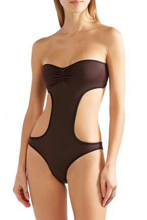 SOLID & STRIPED The Carolyn strapless cutout swimsuit