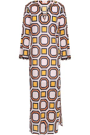 TORY BURCH Embellished printed cotton-mousseline kaftan