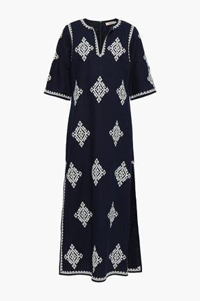 TORY BURCH Embroidered linen-blend kaftan