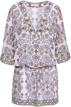 TORY BURCH Printed cotton and silk-blend mousseline coverup