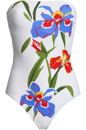 TORY BURCH Strapless floral-print swimsuit