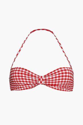 TORY BURCH Gingham seersucker bandeau bikini top