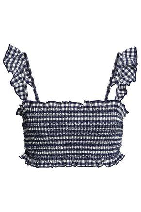 TORY BURCH Ruffle-trimmed shirred gingham bikini top