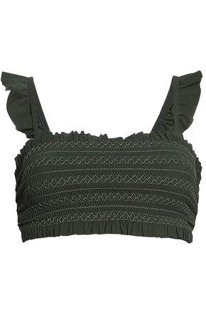 TORY BURCH Ruffle-trimmed bandeau bikini top