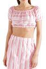 LEMLEM Lulu cropped striped cotton-gauze top
