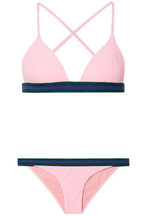 RYE Yo-Yo striped piqué triangle bikini