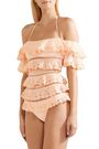 ZIMMERMANN Painted Heart Love tiered lattice-trimmed lace bandeau swimsuit