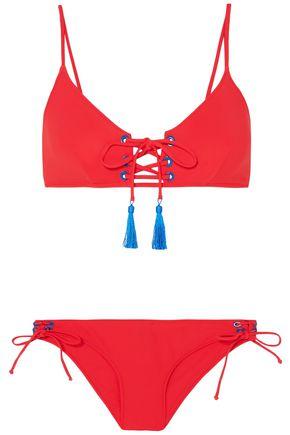 EMMA PAKE Mimi + Marcia tasseled lace-up bikini