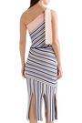 TABULA RASA Ibis one-shoulder fringed striped stretch-knit midi dress