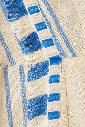 DODO BAR OR Tasseled striped cotton-gauze mini dress
