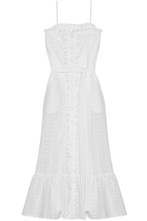 LISA MARIE FERNANDEZ Broderie anglaise cotton midi dress