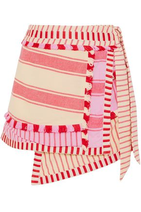 DODO BAR OR Patchwork-effect fringed striped cotton mini wrap skirt
