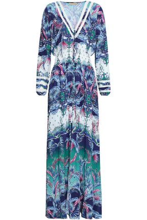 MELISSA ODABASH Shirred printed voile maxi dress