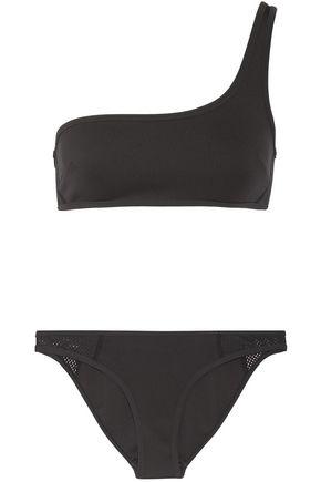 STELLA McCARTNEY One-shoulder mesh-trimmed neoprene bikini