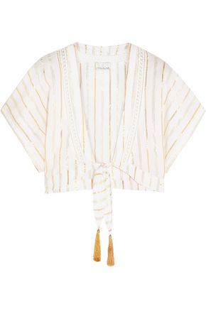 VIX PAULA HERMANNY Metallic striped cotton-blend gauze top