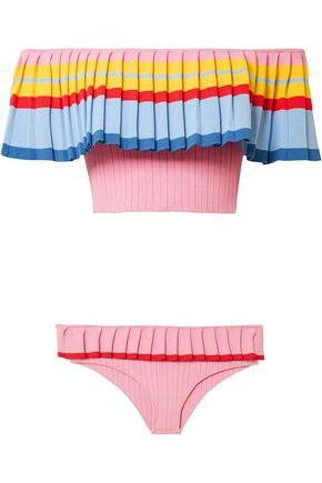 TABULA RASA Pleated draped color-block knitted bikini