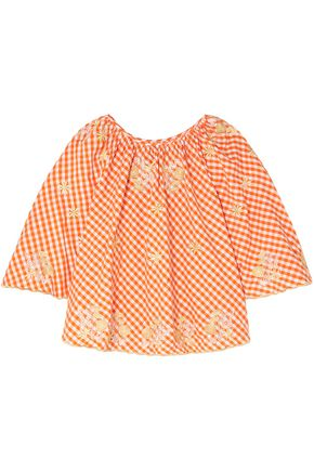 INNIKA CHOO Embroidered gingham cotton-poplin top