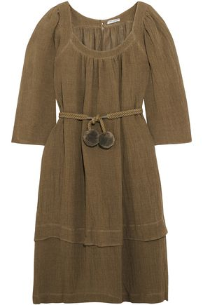 THREE GRACES LONDON Belted linen-blend gauze dress