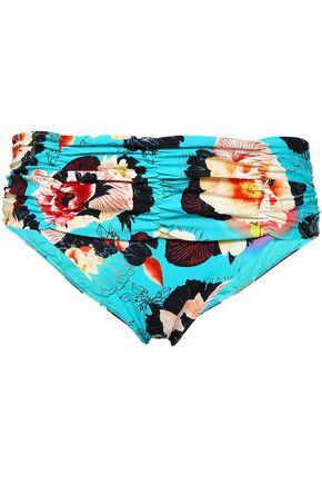 SEAFOLLY Seychelles ruched printed mid-rise bikini briefs