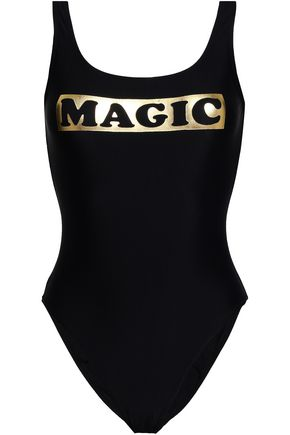 ZOE KARSSEN Metallic printed swimsuit
