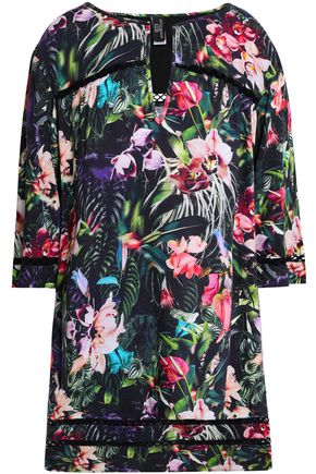 JETS AUSTRALIA by JESSIKA ALLEN Crochet-trimmed floral-print woven coverup