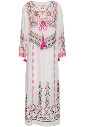 FIGUE Tasseled embroidered silk crepe de chine kaftan
