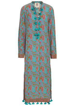 FIGUE Tasseled printed silk crepe de chine midi dress