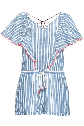 LEMLEM Ruffled striped cotton-gauze playsuit