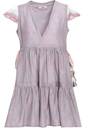 LEMLEM Tassel-trimmed cotton and silk-blend poplin mini dress