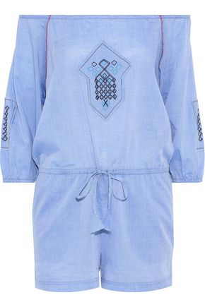 LEMLEM Off-the-shoulder embroidered cotton-chambray playsuit
