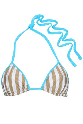 DIANE VON FURSTENBERG Metallic striped triangle bikini top