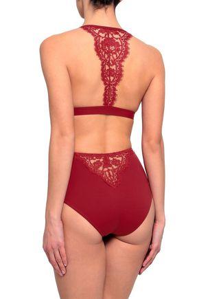 I.D. SARRIERI Elite Chantilly lace-paneled high-rise bikini briefs