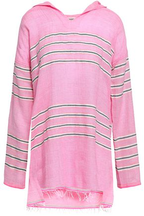 LEMLEM Striped cotton-blend gauze hooded coverup