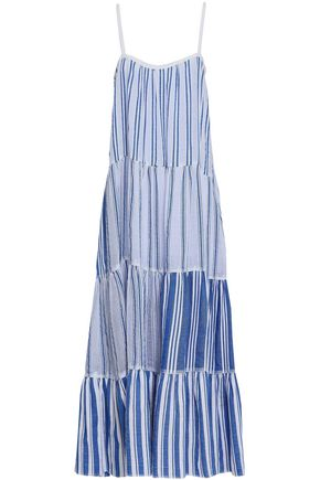 LEMLEM Tiered striped cotton-gauze maxi dress