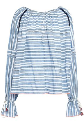 LEMLEM Tassel-trimmed striped cotton-gauze top