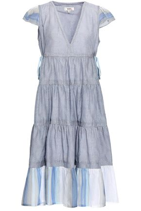 LEMLEM Tasseled printed cotton and silk-blend poplin midi dress