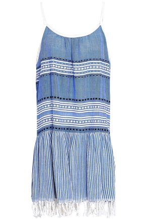 LEMLEM Fringe-trimmed embroidered cotton-blend gauze dress