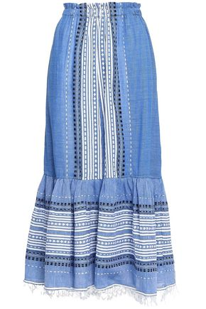 LEMLEM Fringe-trimmed printed cotton-blend gauze midi skirt