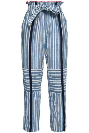 LEMLEM Belted striped cotton-gauze straight-leg pants