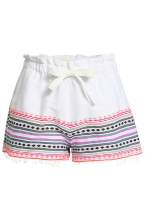 LEMLEM Fringe-trimmed embroidered cotton-blend shorts