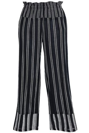 LEMLEM Striped cotton-blend gauze wide-leg pants