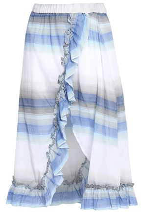 LEMLEM Ruffle-trimmed striped cotton skirt