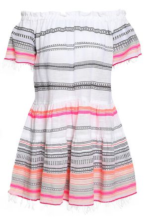 LEMLEM Off-the-shoulder printed cotton-blend gauze mini dress
